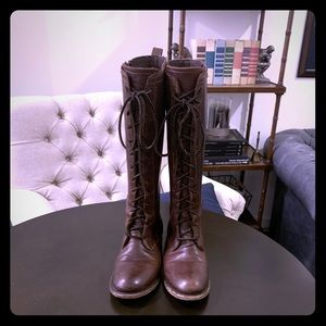Vintage shoe company lace up brown leather boots.